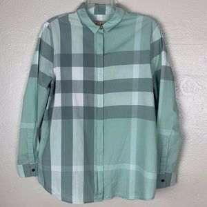 Burberry Brit Pastel Green Teal Check Button Up L